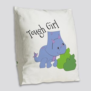Tough Girl Burlap Throw Pillow