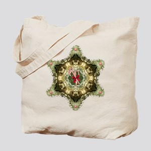 Peppermint Christmas Wreath Tote Bag