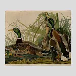 Audubon Mallard duck Bird Vintage Print Throw Blan