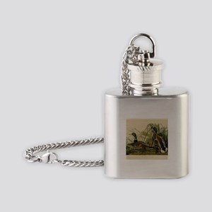 Audubon Mallard duck Bird Vintage Print Flask Neck