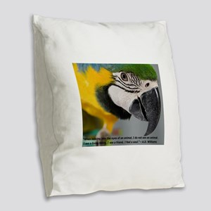 B&G Macaw with Quote Burlap Throw Pillow