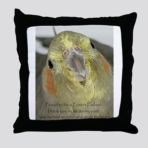 Cockatiel with Quote Throw Pillow