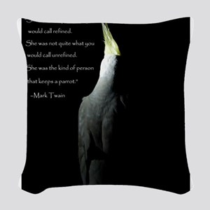 Cockatiel with Mark Twain Quote Woven Throw Pillow