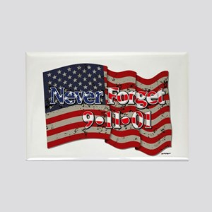 911 Never Forget American Flag Rectangle Magnet