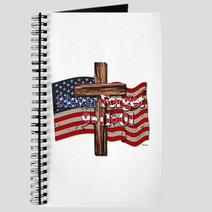 911 Never Forget American Flag And Cross Journal