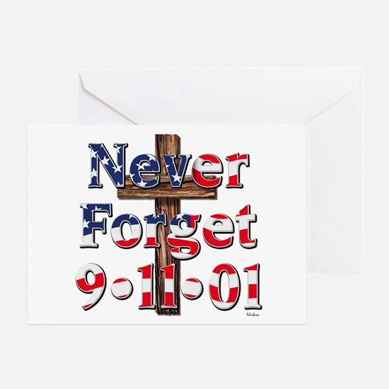 Never Forget 911 With Cross Card Greeting Cards