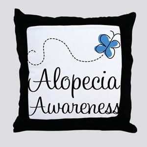 Alopecia Awareness blue butterfly Throw Pillow