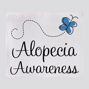 Alopecia Awareness blue butterfly Throw Blanket