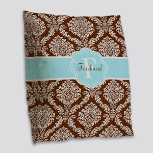 Brown Blue Damask Personalized Burlap Throw Pillow