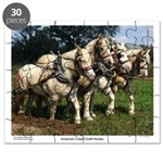American Cream Draft Horse Team Puzzle