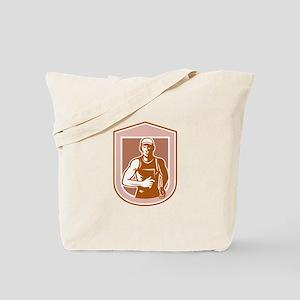 Marathon Runner Running Shield Retro Tote Bag