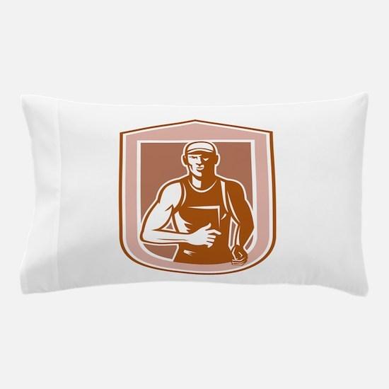 Marathon Runner Running Shield Retro Pillow Case