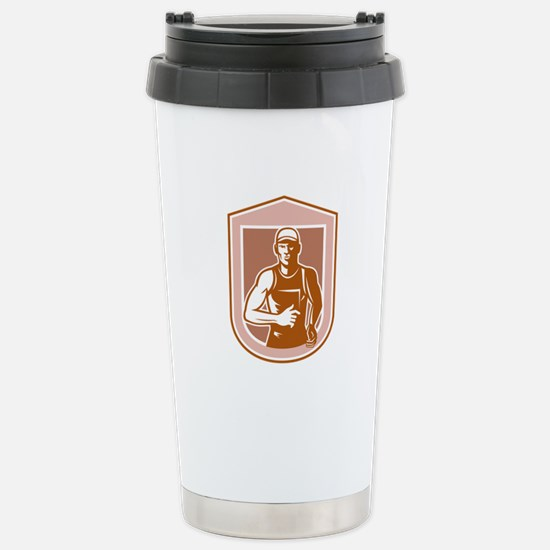 Marathon Runner Running Shield Retro Travel Mug