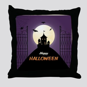 Spooky Haunted House Throw Pillow
