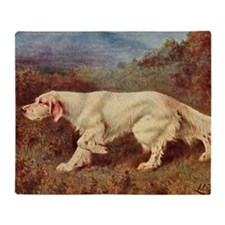 English Setter Watercolor Throw Blanket