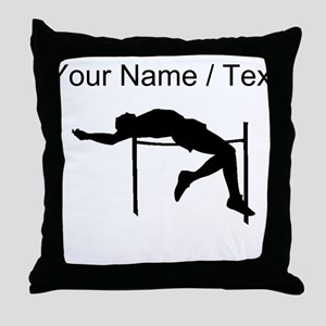 Custom High Jump Silhouette Throw Pillow