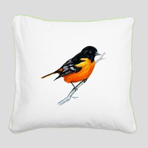 Baltimore Oriole Square Canvas Pillow