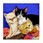 3 KITTENS ROSES cat art Tile Coaster