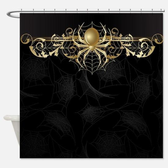Golden Spider Web Shower Curtain