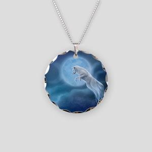 spirit wolf Necklace Circle Charm