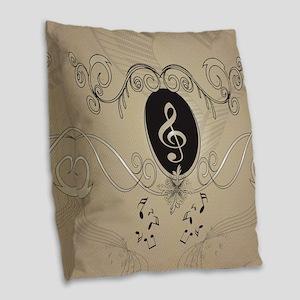 Music notes Burlap Throw Pillow