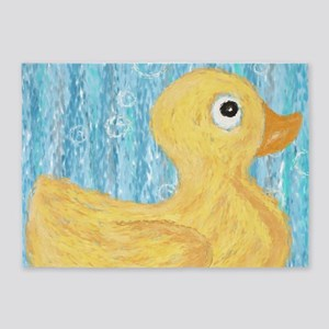 Big Rubber Duck on Blue 5'x7'Area Rug