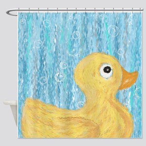 Big Rubber Duck on Blue Shower Curtain