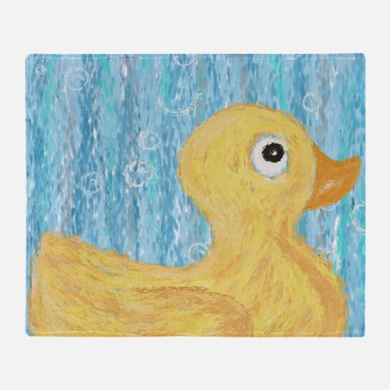 Big Rubber Duck on Blue Throw Blanket