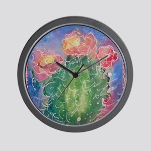 pink cactus blossoms, southwest art Wall Clock