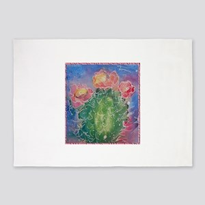 pink cactus blossoms, southwest art 5'x7'Area Rug