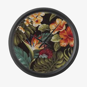 Hawaiian flowers Large Wall Clock