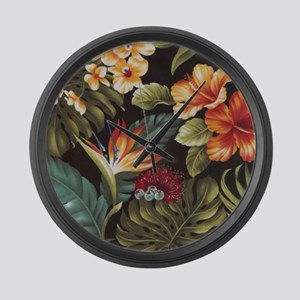 Hawaiian flowers Large Wall Clock