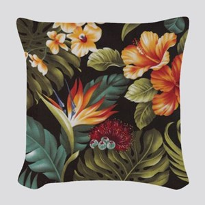 Hawaiian flowers Woven Throw Pillow