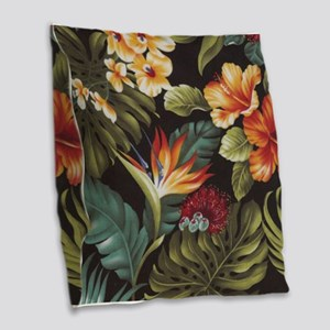 Hawaiian flowers Burlap Throw Pillow