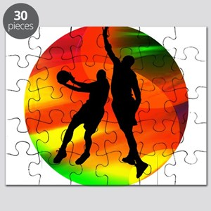 Basketball Duo Bright Court Lights Puzzle
