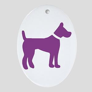 dog purple 1C Ornament (Oval)