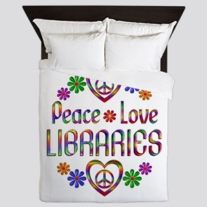 Peace Love Libraries Queen Duvet