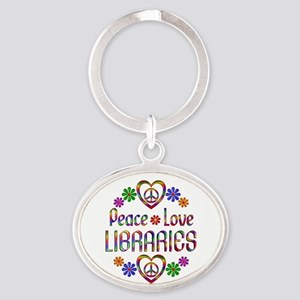 Peace Love Libraries Oval Keychain