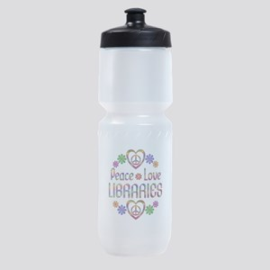 Peace Love Libraries Sports Bottle