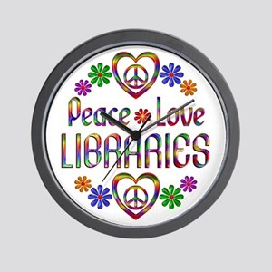 Peace Love Libraries Wall Clock