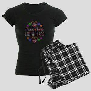 Peace Love Libraries Women's Dark Pajamas