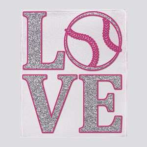 LOVE SOFTBALL/BASEBALL GLITTER PINK Throw Blanket