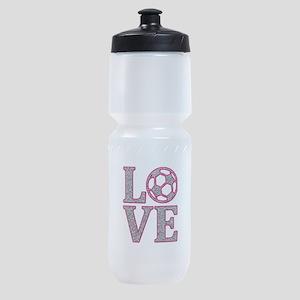 LOVE SOCCER GLITTER PINK Sports Bottle