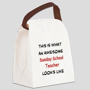 awesome sunday school teacher Canvas Lunch Bag