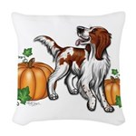 Irish Red White Setter Autumn Woven Throw Pillow