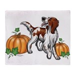Irish Red White Setter Autumn Throw Blanket