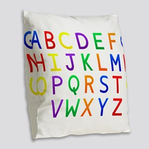 Colorful Alphabets Burlap Throw Pillow