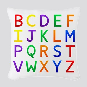 Colorful Alphabets Woven Throw Pillow