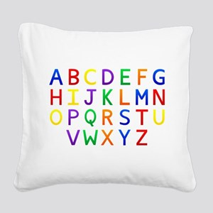 Colorful Alphabets Square Canvas Pillow