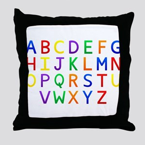 Colorful Alphabets Throw Pillow
